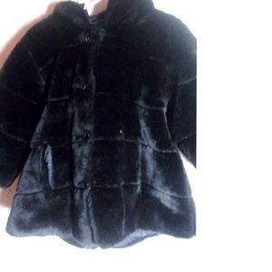 Childrens Place Black Faux Fur Hoodie Coat Size 2T